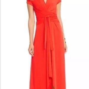 Michael Kors orange hi-lo faux wrap dress